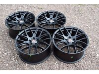 "Set of Four Axe CS Lite 18"" Alloy Wheels Matt Black VW Golf Mk5 Audi A3 A4 A6 TT Mercedes C Class"