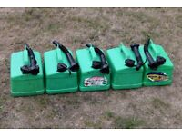 Four x used 5 litre petrol cans (photo shows 5 but 1 sold)