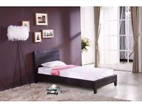 Brand New Single Low Frame Faux Leather Bed Frame With Mattress Black Brown