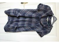 Womans blue check mantaray shirt with cowl neck size 10