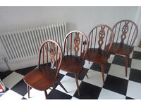 4 Ercol Retro Vintage Mid Century Dining Chairs 1960s 1970s