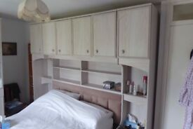 Wardrobes and Overbed Unit - Light wood effect, good condition Plus Chest of Drawers