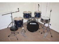 Tama Stagestar Dark Blue 5 Piece Full Drum Kit (18 in bass) + Stands + Stool + Cymbals