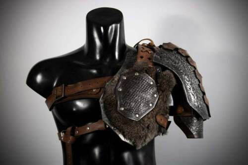 Medieval Leather Viking/Barbarian Set Of Pauldrons Larp Shoulder Harness P2