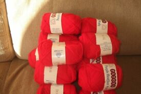 16 ounces of red 4 ply wool . 16 balls.