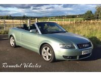 STUNNING ONE OWNER Audi A4 3.0 SPORT QUATTRO conv LOW MILES 45k from new Ice Green, 12 mths mot