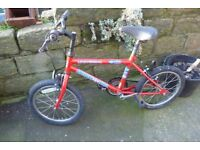 """Small red bike suit 4 to 6 yr old. 16"""" wheels...."""