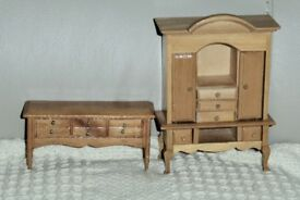 Wooden Dolls House Furniture, 5 inches & 2 inches tall, Wardrobe- Opening Doors & Drawers, Histon