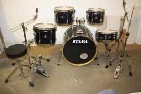 Tama Superstar Dark Blue Metallic 5 Piece Full Drum Kit (22in Bass) + All Stands + Sabian Cymbal set