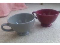 Large French bowls with handles x 2 - for that 'café au lait' or soup ...