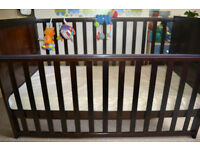 IKEA dark brown cot bed comes with new matress