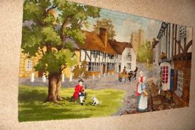 RUG, BRITISH MADE VINTAGE. A VILLAGE SCENE