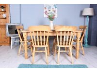 DELIVERY OPTIONS - FARMHOUSE SOLID PINE 5 FT TABLE & 6 BEECH STRAIGHT BACK CHAIRS