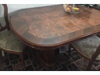 Dining Table Italian extends to size for 8 chairs in brown colour