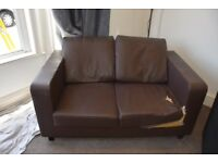 FREE Two Seater Faux Leather Brown Sofa