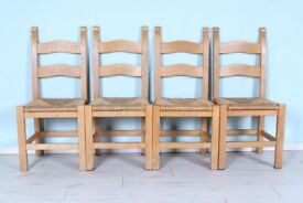 DELIVERY OPTIONS - 4 X OAK CHAIRS, WITH WICKER SEATS, WELL MADE VERY STURDY