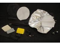Big Convertible Umbrella and various Speedlight accessories.