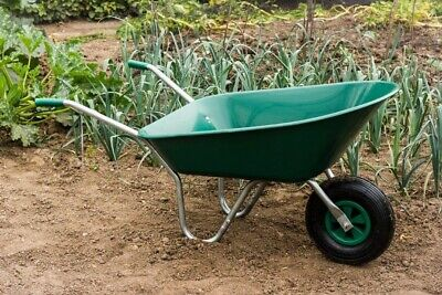 Green Wheelbarrow 85L Heavy Duty Stable Plastic Strong Comes In Box Perfect Gift
