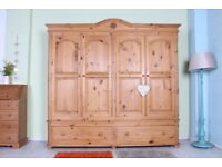 DELIVERY OPTIONS - LARGE QUALITY MADE QUADRUPLE PINE WARDROBE 2 DRAWERS WAXED