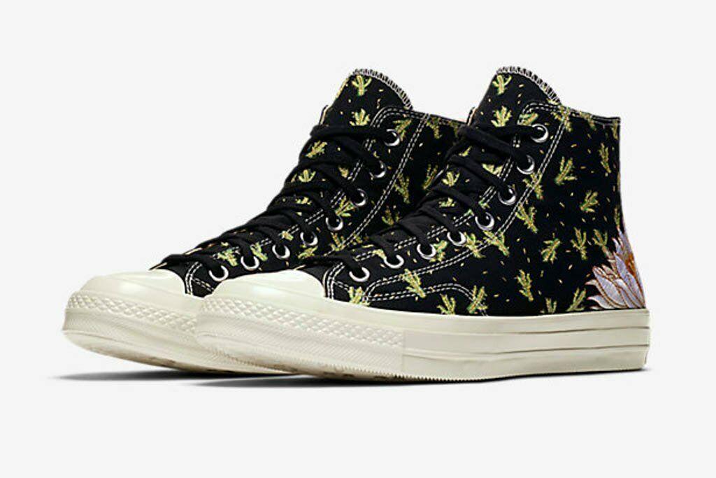 Details about Mens Converse Chuck 70 Hi Prep Embroidery Cactus 161359C BlackGreenEgret 9 10