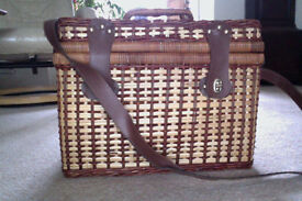 Wicker picnic basket with picnic set