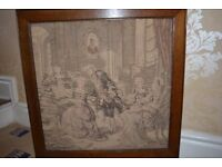 BEAUTIFUL OLD OAK AND TAPESTRY FIRE SCREEN - GREAT CONDITION