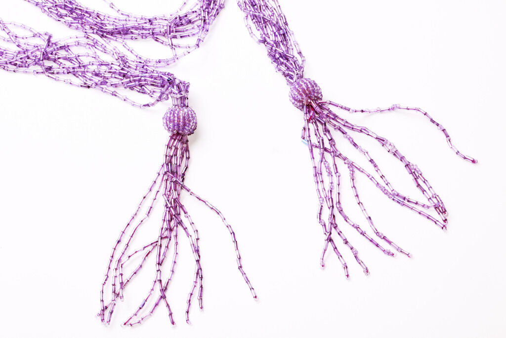 ZX41 ECCENTRIC MAUVE MULTI TUBULAR BEADED TASSEL END WRAP NECKLACE//BELT 137CM