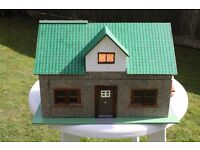 WOODEN DOLLS HOUSE AND MISC. FURNATURE.