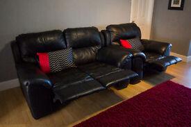 Power Recliner 2 Seater Sofa - Black Italian Leather