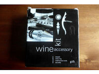 BRAND NEW, NEVER USED, 4 PIECE SOMMELIER WINE OPENING SET in BLACK PRESENTATION CASE, XMAS GIFT