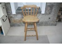 Kitchen bar stool, kids chair, solid antique pine
