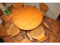 Dinning round table and 4 chairs.Free. Pick up only.