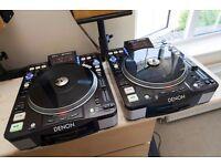 Denon DNS-3700 CD Decks CDJ Turntables for DJs (PAIR) + Extras