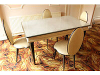 Vintage UMBERTO MASCAGNI Dining Table and four Chairs from Italy