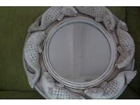 Plaster framed mirror - 3D fish decoration