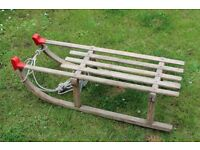 Old/Vintage sledge/toboggan with metal runners and tow rope