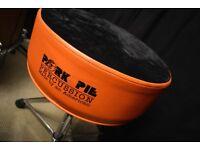 Pork Pie Orange/Black Drum Stool