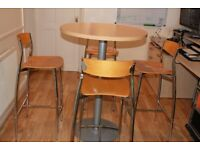 Dining Table set / Round tabletop &steel base plus 4 chairs
