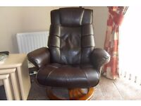 Brown Leather three seater sofa and massage chair