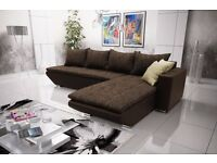"Corner sofa bed sofa bed UK STOCK 1-5 DAY DELIVERY""Lucca"" Brown"