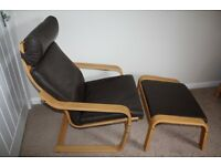 Ikea Poang Chair and matching Footstool in birch and brown leather.