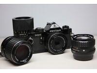 Pentax MX 35mm SLR, with 40mm f2.8 Pancake, 24mm f2.8, 135mm f3.5, 90mm f2.5 Lenses