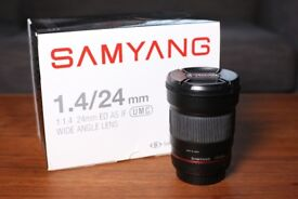 SAMYANG 24mm f/1.4 LENS (EF CANON FIT) - GREAT CONDITION - BOXED