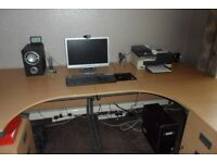 Two desks, pedestal, under desk pedestal, filing cabinet and bookcase.