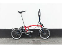 brompton p3l blue red fresh condition large size full service old 3 years