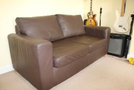 Leather sofa bed - excellent condition