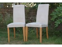 2 x Cream Suede Effect Dining Chairs