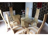 Glass dining Table and 6 Bamboo chairs