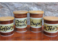 4 Vintage Handpainted Kitchen Storage Containers- Toni Raymond Pottery Coffee Tea Sugar Dried Fruit