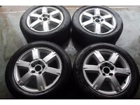 GENUINE OEM FORD 5X108 ALLOY WHEELS + FOUR TYRES VOLVO JAGUAR ALLOY WHEEL CLEARANCE